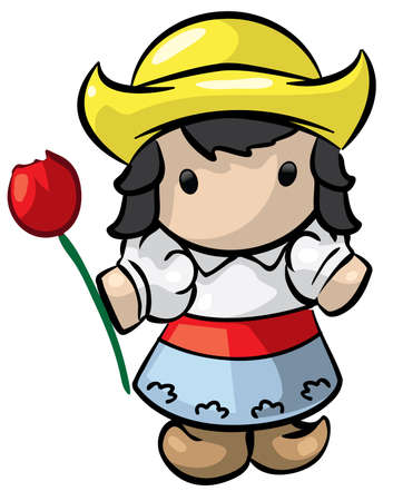A little dutch girl with a yellow hat. Vector