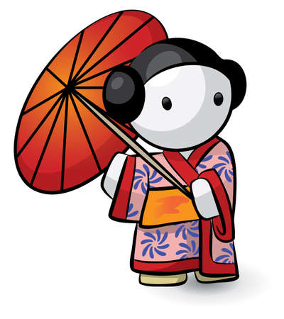 A little geisha holding an umbrella and looking cute.