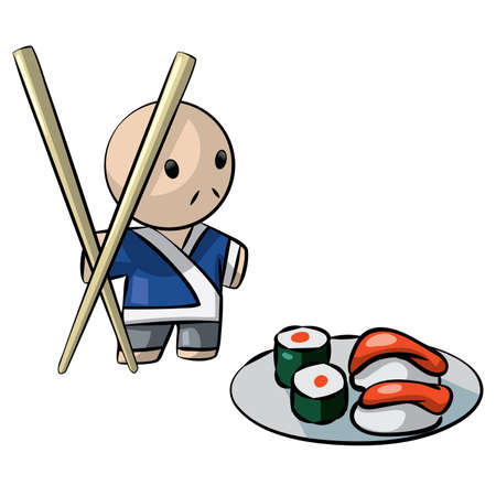 Japanese chef serving sushi with giant chopsticks. An illustration in traditional culture.