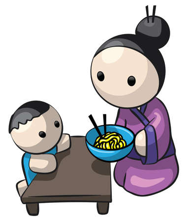 A cute illustration of a Japanese mother and child. She is serving him home-made Saimin noodles.  Reklamní fotografie
