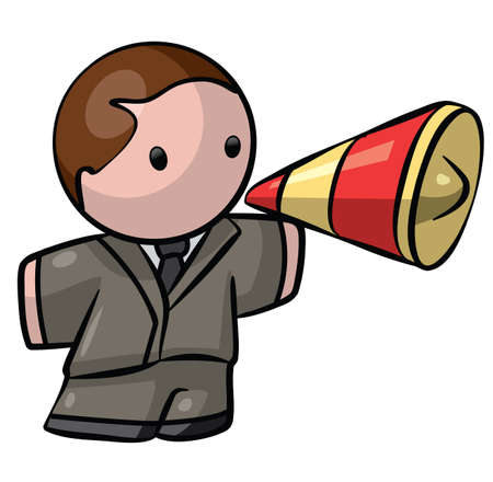 A business man with a megaphone.  photo