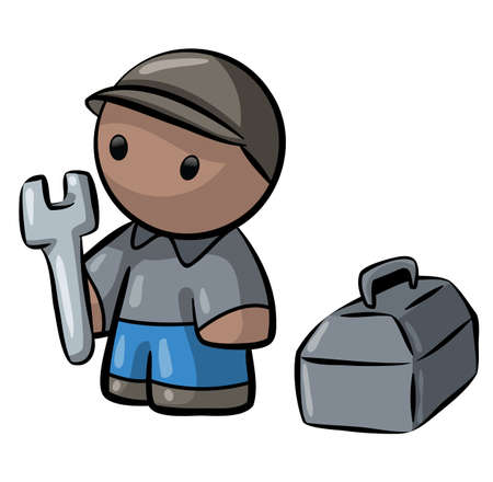 building contractor cartoon: A little contractor man cartoon.  Stock Photo
