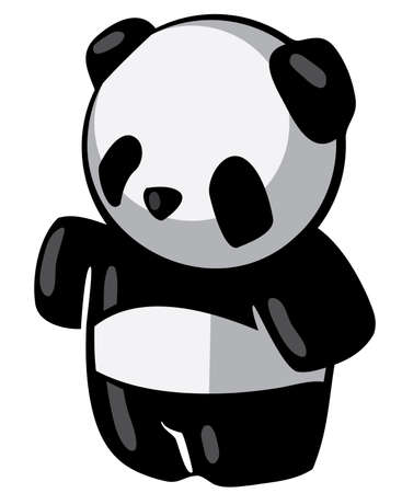 A friendly panda character with his arm out, perhaps presenting something. Good zoology, conservation, or educational illustration.   illustration