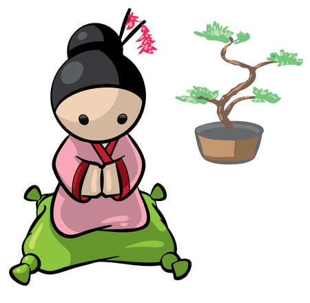 woman looking down: A Japanese woman kneeling on a pillow with a Banzai tree in the background.