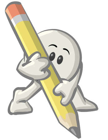 article writing: Royalty-free clipart picture of a white konkee character writing with a yellow pencil, on a white background.