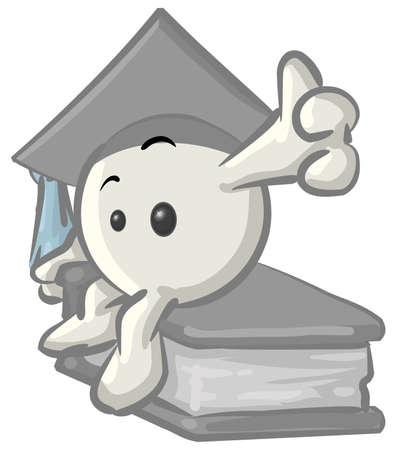 graduacion caricatura: Libre de regal�as foto clipart de un graduado konkee car�cter blanco con una gorra, sentado en un libro, sobre un fondo blanco.