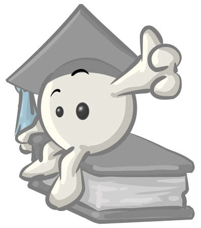 educated: Royalty-free clipart picture of a white konkee character graduate in a cap, sitting on a book, on a white background.
