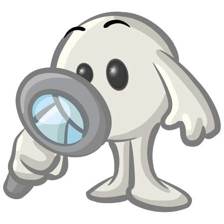 Royalty-free clipart picture of a white konkee character inspecting with a magnifying glass, on a white background. photo