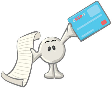 stern: Royalty-free clipart picture of a white konkee character holding a receipt and a blue credit card, on a white background. Stock Photo