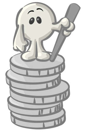 coin bank: Royalty-free clipart picture of a white konkee character standing on top of a stack of coins, on a white background.
