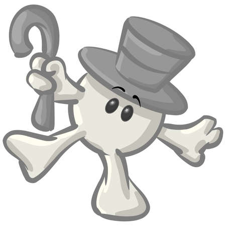tophat: Royalty-free clipart picture of a white konkee character in a top hat, dancing with a cane, on a white background. Stock Photo