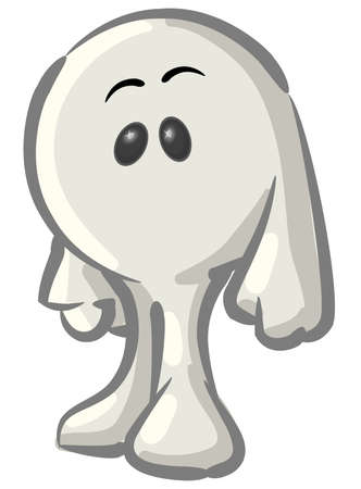Royalty-free clipart picture of a white konkee character, on a white background.