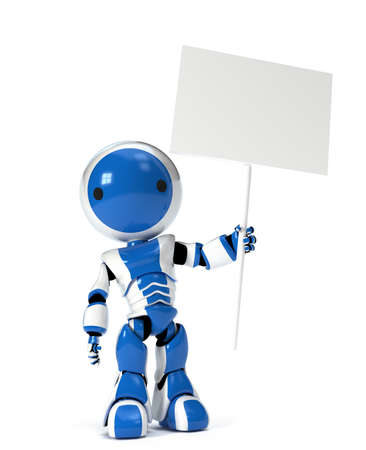 A cute robot holding a blank sign, empty for your text or design. photo