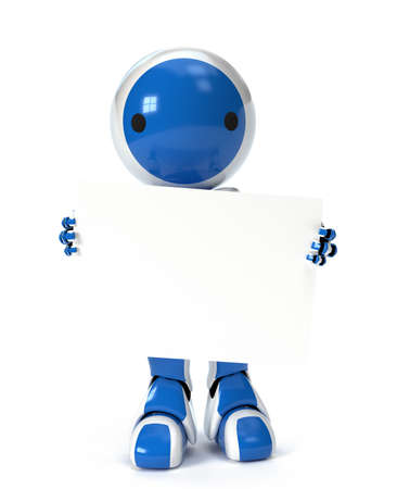 A cute robot holding a blank sign over his body, ready for your text or design. photo