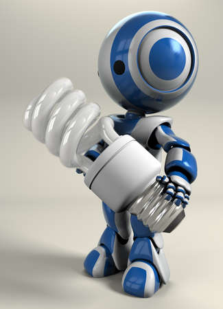 A blue robot holding a compact energy saver bulb. photo