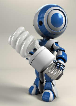 bombillo ahorrador: Un robot azul de la celebraci�n de una energ�a compacta bombilla de ahorro de energ�a.