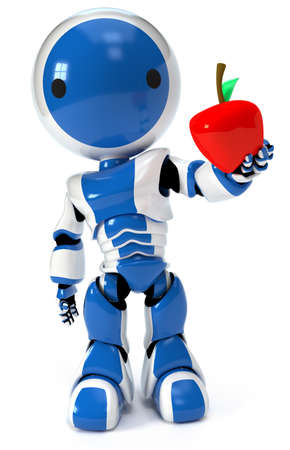 Health concept illustration, a robot holding an apple.