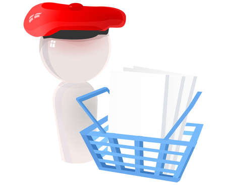 checkout: Ecommerce icon with beret and blue basket, checkout and cart icon.