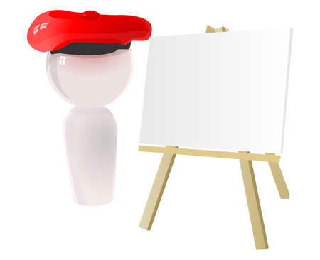 graphic artist: Artist icon with beret and canvas, shiny marble sculpture