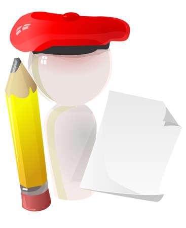 graphic artist: Note paper, buret, pencil, artists icon. Stock Photo