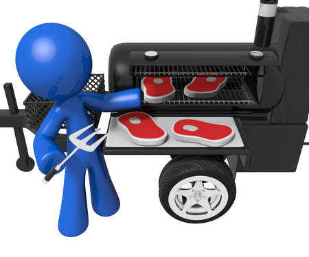 Man grilling and preparing steaks with a mobile smoker grill. photo
