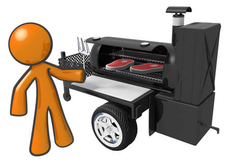 Man preparing steaks on a mobile cookout grill machine. Stock Photo - 11134778
