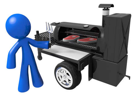 Man preparing yummy steaks on mobile grill. photo