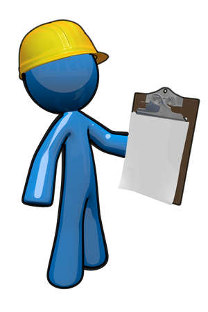 constructor: Supervisor de 3D Blue Man celebraci�n de un portapapeles y preparado para gestionar los dem�s trabajadores.
