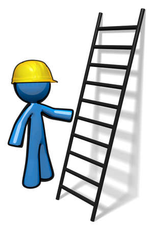 3d Blue Man beside a ladder giving a course in safety or ready to climb.