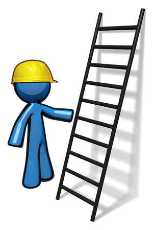 escaleras: Hombre 3d azul al lado de una escalera dando un curso de seguridad o listas para subir.