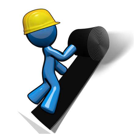 constructor: Hombre 3d azul con un rollo de fieltro para un proyecto de techo