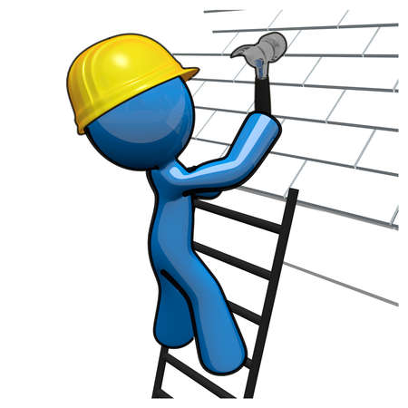 3d Blue Man roofer professional working on a roof with a hammer, hard hat, and ladder.