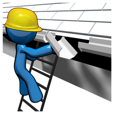 roofer: 3d Blue Man replacing gutters under roof. Stock Photo