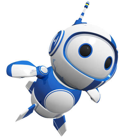 3d cute blue robot flying up like a hero. photo