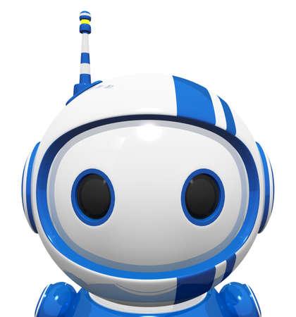 3d bleu mignon proches portrait-robot du visage et les yeux grands mignon. Banque d'images - 11134530