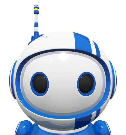 bot: 3d cute blue robot portrait close of up face and wide cute eyes. Stock Photo