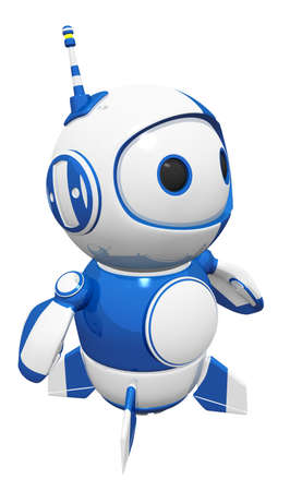 whatever: 3d cute blue robot posed and ready for action to do whatever he must do to keep looking cute. Stock Photo