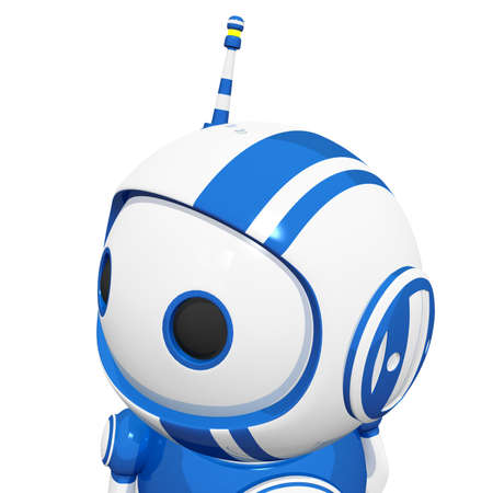 cute robot: 3d cute blue robot with antennae looking left and observing in the middle distance.