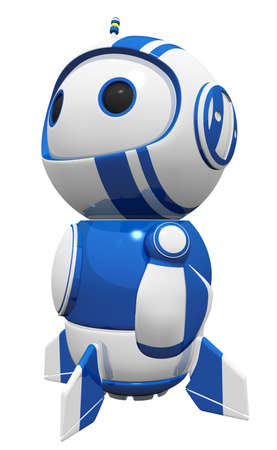 3d cute blue robot looking up into the heights, in that familiar heroic stance, gazing in wonder, contemplating something. Stock Photo