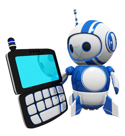 3d cute blue robot with a PDA, screen blank so you can do an overlay effect with your chosen design.