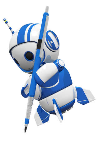 drafting: 3d cute blue robot writing or drawing with his little drafting pencil.