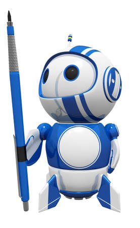 3d cute blue robot holding a large drafting pencil. He is going to get creative. photo
