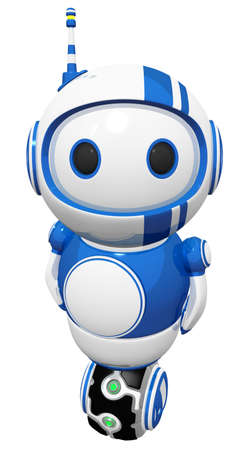 3d cute blue robot standing on hover uniwheel. Фото со стока