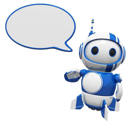 3d cute blue robot with a word bubble speaking his mind. You can decide what he will say. photo