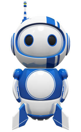 3d cute blue robot wit rockets and fins ready to fly, standing tall and on guard. photo