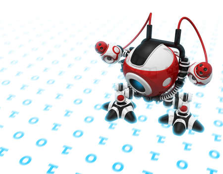 search engine optimization: Web Crawler, Indexer Web Spider, Internet Bot, or Scutter, walking on binary code or internet info seeking out new information. The code as well as his feet are glowing with bluish lighted energy.