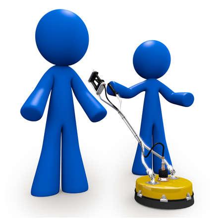 machine à laver: Deux hommes bleus, des nettoyeurs de béton, avec un nettoyeur haute pression de nettoyage du béton. Banque d'images