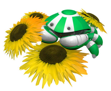 notable: Little crab robot with sunflowers. The sunflowers are notable in that they have an accurate seed arrangement, 3d generated, according to Fibonacci sequence. Stock Photo
