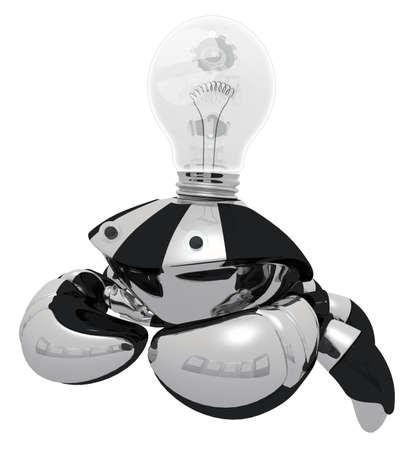 A robot that generates ideas. When he has an idea, his light bulb glows.