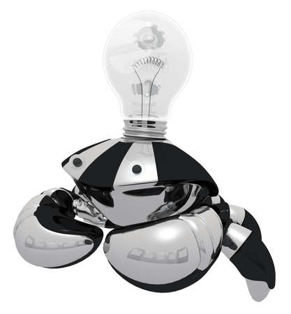 ingenuity: A robot that generates ideas. When he has an idea, his light bulb glows.